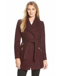 Guess | Purple Belted Boucle Wrap Coat | Lyst