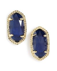 Kendra Scott | Blue 'ellie' Oval Stone Stud Earrings - Navy/ Gold | Lyst