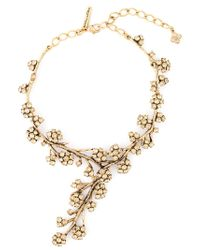 Oscar de la Renta | Metallic Cascading Flower Necklace | Lyst