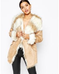 Lipsy | Natural Coat With Faux Fur Trim And Lining | Lyst