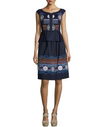 Peter Pilotto - Blue Embroidered Stretch-cotton A-line Skirt - Lyst