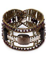 Ziio - Gray Murano Glass Beaded Bracelet - Lyst