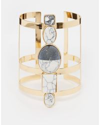 ASOS - Metallic Mono Stone Cage Cuff Bracelet - Lyst