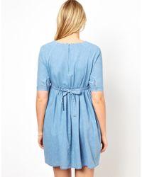 ASOS - Blue Smock Dress in Denim - Lyst