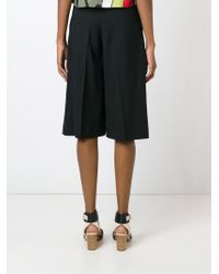 RED Valentino - Black Wide Leg Cropped Trousers - Lyst