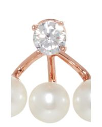 Fallon | Metallic Triple Pearl Ear Jackets | Lyst