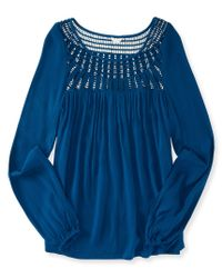 Aéropostale | Blue Long Sleeve Crochet Yoke Peasant Top | Lyst