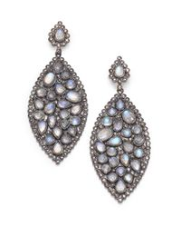 Bavna | Multicolor Champagne Diamond Rainbow Moonstone Sterling Silver Marquis Earrings | Lyst