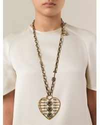 Lanvin - Metallic Heart Print Necklace - Lyst