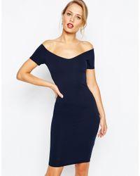 TFNC London | Blue Mini Dress With Off Shoulder & Twist Back | Lyst