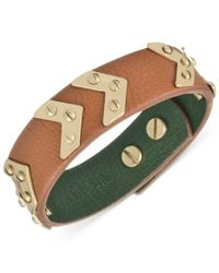 The Sak | Metallic Gold-tone Signature Chevron Tobacco Leather Bracelet | Lyst