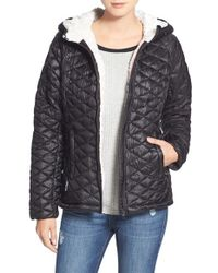 Steve Madden | Black 'glacier Shield' Faux Fur Trim Hooded Jacket | Lyst