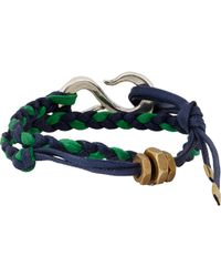Giles & Brother | Green Braided Leather Bracelet With Hook Clasp for Men | Lyst
