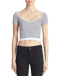 Jessica Simpson | White Striped Crop Top | Lyst