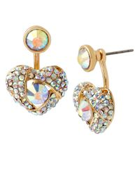 Betsey Johnson | Metallic Pave Heart Stud Earrings | Lyst