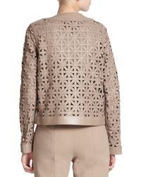ESCADA - Natural Leather Lattice-weave Jacket - Lyst