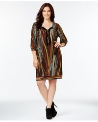 Spense | Black Plus Size Printed Peasant Dress | Lyst