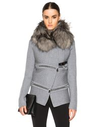 Barbara Bui | Gray Fur Collar Sweater | Lyst