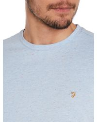 Farah - Blue Regular Fit Flecked Crew Neck T-shirt for Men - Lyst