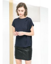 Mango - Blue Contrast Panel Blouse - Lyst