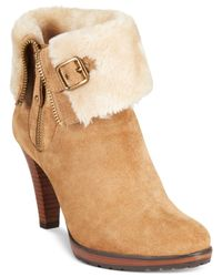 Anne Klein | Brown Talasi Faux Fur-trim Booties | Lyst