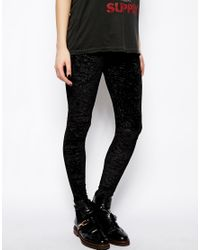 ASOS - Black High Waist Leggings in Crushed Velvet - Lyst