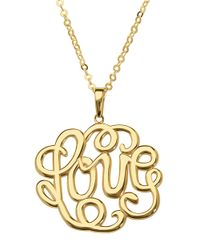 Lord & Taylor | Metallic 14kt Yellow Gold Love Scroll Pendant Necklace | Lyst