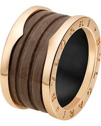 BVLGARI | Metallic B.zero1 Four-band 18kt Pink-gold And Brown Marble Ring | Lyst