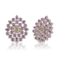 Vara Of London - Purple The Silver Fleur De Chine Ring - Lyst