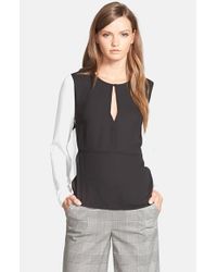 1.STATE - Black Colorblock Blouse - Lyst