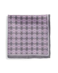 Robert Talbott - Gray Medallion Silk Pocket Square for Men - Lyst