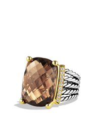 David Yurman | Brown Wheaton Ring With Smoky Quartz And Diamonds And Gold | Lyst