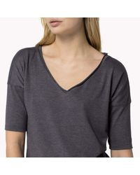 Tommy Hilfiger | Gray Cotton Blend 3/4 Sleeve T-shirt | Lyst
