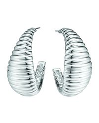 John Hardy | Metallic Bedeg Silver Medium Wide Hoop Earrings | Lyst