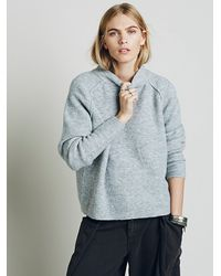 Free People | Gray Bubble Crew Neck Pullover | Lyst