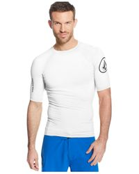 Volcom - White Solid Short-sleeve Upf Rashguard for Men - Lyst