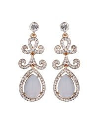 Mikey | Metallic Oval Stone Drop Design Earring | Lyst