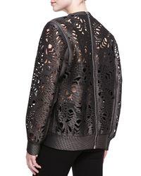 Alexander Wang - Black Laser-cut Oversized Crewneck Sweater - Lyst