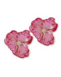Kenneth Jay Lane | Pink Flower Clip Earring | Lyst