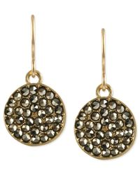Kenneth Cole | Metallic Gold-tone Glass Crystal Circle Drop Earrings | Lyst