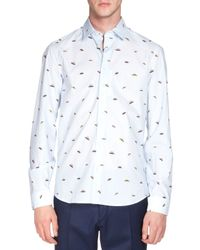 KENZO - Blue Ufo-print Long-sleeve Poplin Shirt for Men - Lyst