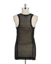 DKNY | Black Sheer Knit Tank | Lyst