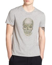 Alexander McQueen | Gray Skull Cotton Tee for Men | Lyst