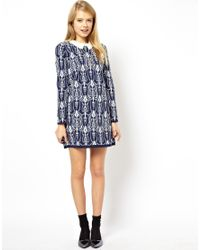 ASOS - Blue Jacquard Bonded Shift Dress With Lace Collar In Knit - Lyst