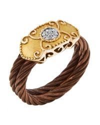 Charriol - Brown Women's Celtique Rose 18k Gold And Bronze-tone Diamond .05tcw Ring - Lyst