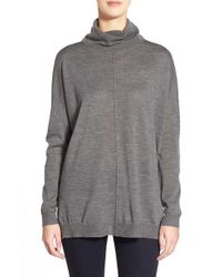 Eileen Fisher | Gray Boxy Merino Turtleneck Sweater | Lyst