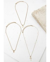 Forever 21 | Metallic Cross Charm Necklace Set | Lyst