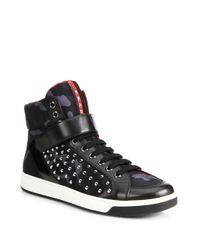 Prada - Black Nylon Studded High-Top Sneakers for Men - Lyst