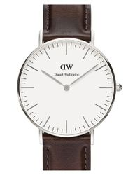 Daniel Wellington | Brown 'classic Bristol' Round Leather Strap Watch | Lyst
