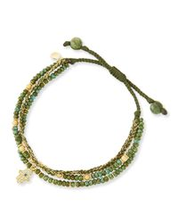 Tai | 3-strand Green Beaded Bracelet With Hamsa Charm | Lyst
